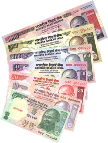 Indian rupee collection