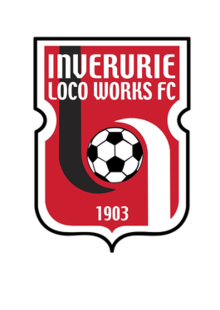 A red shield with text and border in white. At the top 'Inverurie Loco Works FC' is written and at the bottom '1903'. In the centre is a black and white Soccer ball.
