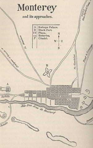 Battle of Monterrey - Map of the town's defences that appeared in Personal Memoirs of Ulysses S. Grant.  Forts de La Teneria and Diablo are to the east of the city.  Fort Soldado is in the lower left.