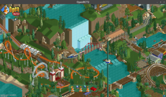 RollerCoaster Tycoon 2 - Screenshot of the OpenRCT2 open-source mod, showing the user interface