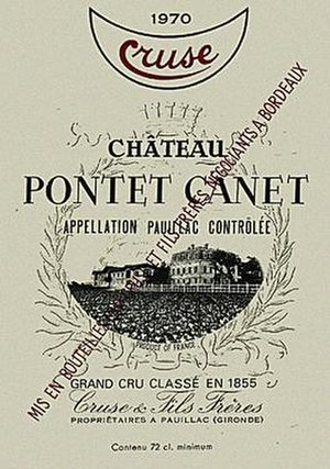 Cruse family - Label of a 1970 bottle of Château Pontet-Canet