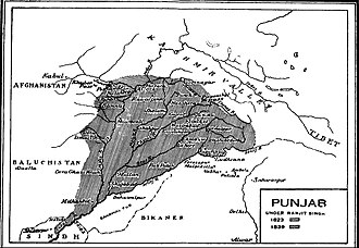 Outline of Sikhism - Map of Ranjit Singh's empire at its peak.