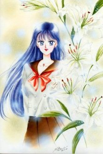 "Sailor Mars - Rei in her unique school uniform, drawn by Naoko Takeuchi for the short story ""Casablanca Memories""."
