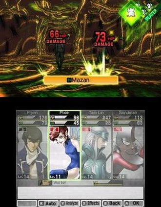 Megami Tensei - Screenshot of the Press Turn system as it appears in Shin Megami Tensei IV. Allied demons include designs by Kazuma Kaneko.