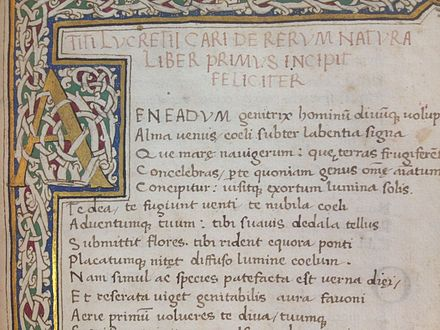 A manuscript of De Rerum Natura in the Cambridge University Library collection Start of Lucretius DRN manuscript.jpg
