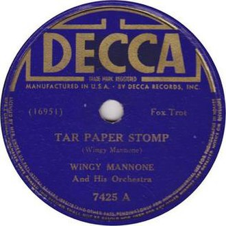 Tar Paper Stomp - 1937 78 re-release on Decca Records, 7425A.