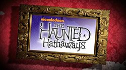 "An ornate picture frame against red wallpaper containing the words ""nickelodoen The Haunted Hathaways"" written in a stylized script."