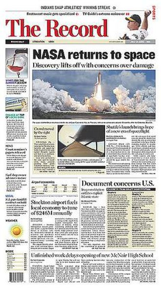 The Record (Stockton, California) - The July 27, 2005 front page of The Record.