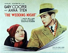 Film poster showing Anna Sten and Gary Cooper, both wearing hats, smiling at each other