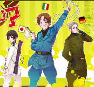 Hetalia: Axis Powers - The Axis Powers, the main characters of the Hetalia series. From left to right: Japan, North Italy, Germany