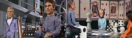 Two images are presented: on the left, two airship crewmembers wearing blue uniforms, one holding a handgun, are either standing or sitting in a high-ceilinged room in front of dynamo-shaped metal frames; on the right, a man and two women are either standing or seated in a room containing chairs, walls and furniture designed to themes of dice, chess pieces and playing cards. All figures in the two screenshots are marionette puppets.