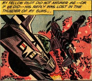 Whaam! - Lichtenstein may have substituted this image for the attacking plane from the subsequent issue of DC Comics' All-American Men of War No. 90 (April 1962).
