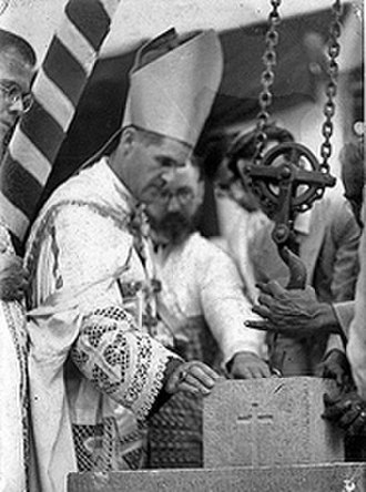 Thomas Roberts (bishop) - Thomas Roberts, SJ, Archbishop of Bombay, blessing the foundation stone of St. Peter's Church in Bandra.