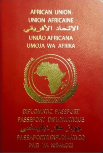 African Union Passport - The front cover of an African Union diplomatic passport