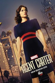 Promotional poster for the second season of Agent Carter, featuring Hayley Atwell as the titular character.