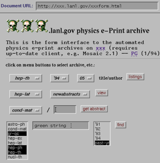 ArXiv - A screenshot of the arXiv taken in 1994, using the browser NCSA Mosaic. At the time, HTML forms were a new technology.