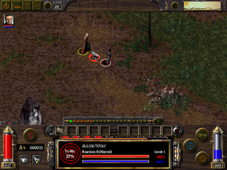 Arcanum: Of Steamworks and Magick Obscura - The player (dwarf, center) in combat with the character Virgil against an Ailing Wolf.