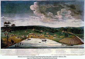 Darby Lux I - Baltimore in 1752. Engraved in 1851 by William Strickland, from contemporary sketch by John Moale (1731-1798)