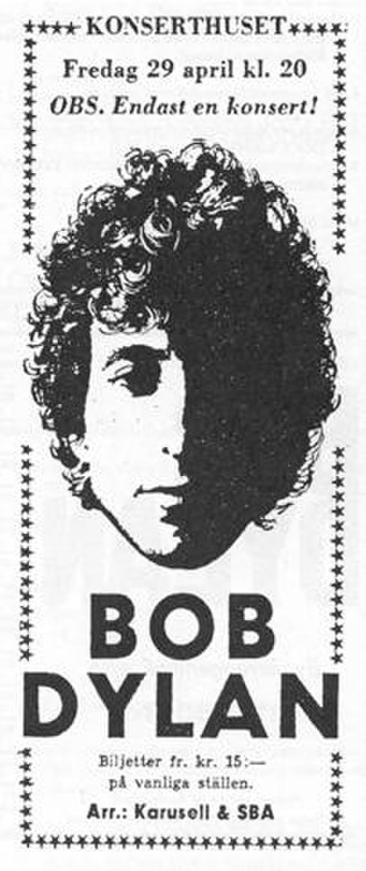 Bob Dylan World Tour 1966 - A ticket stub for the April 29, 1966 show at the Konserthuset, Stockholm, Sweden. This show began the European leg of the 1966 World Tour.