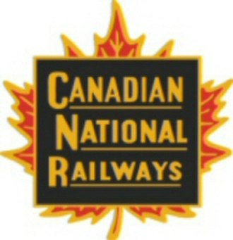 "Canadian National Railway - An early logo or ""herald"" of the Canadian National Railways. It was replaced by the CN ""worm"" in 1960."