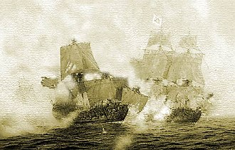 Action of 28 November 1751 - Anonymous engraving depicting the final battle between the Dragón and the Danzik.