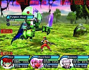.hack (video game series) - The player's party, consisting of Kite, BlackRose, and Wiseman, is battling a monster. The red reticle shows which enemy is currently being targeted. Players may attack in real time by pressing the X button.