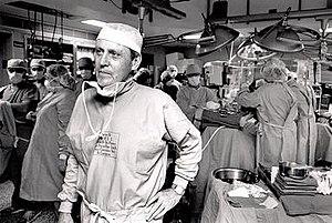 Thomas Starzl - Dr. Thomas Starzl after performing a transplant surgery circa 1990