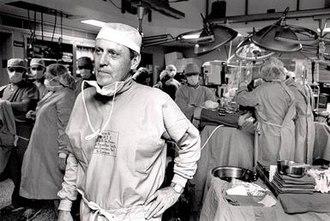 Thomas Starzl - Thomas Starzl after performing a transplant surgery circa 1990