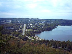 The city of Elliot Lake; the lake on the right