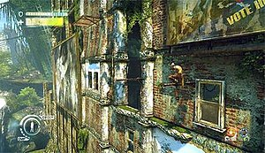 Enslaved: Odyssey to the West - Monkey climbing the ruins while the status of Trip off-screen is displayed in the lower left corner, currently waiting since she cannot scale such buildings.