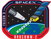 An artistic depiction of a Falcon 9 second stage with an exposed payload bay and an Orbcomm-OG2 satellite orbiting above Earth.