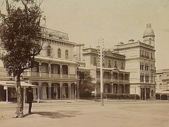 St Kilda, Victoria - 1890 photograph of Fitzroy Street looking toward the intersection of Grey Street and the George Hotel from Albert Park