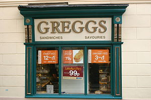 Greggs - Historic shop front, Greggs, Brecon (2005)