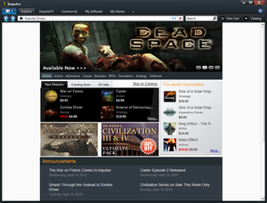 Games displayed on the Impulse client's storefront