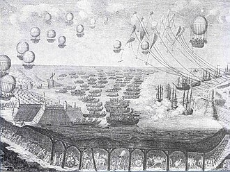 Napoleon's planned invasion of the United Kingdom - Cartoon on the invasion, showing a tunnel under the Channel and a fleet of balloons