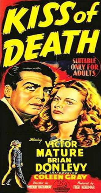 "Kiss of Death (1947 film) - A ""Daybill"" Style Poster from the Australian Theatrical Release"