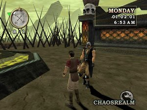 Mortal Kombat: Deception - A young Shujinko meeting Kabal in the action-adventure Konquest mode