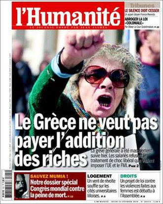 "L'Humanité - Front page of L'Humanité on 25 February 2010. Commenting on the Greek government-debt crisis, the headline reads ""Greece does not want to pay the rich people's bills""."