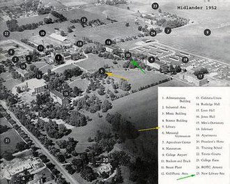 Middle Tennessee State University - 1952 aerial photograph of the university