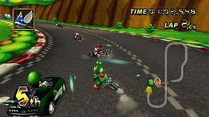 Mario Kart Wii - Screenshot of Mario Kart Wii. Yoshi is seen participating in a race on Mario Circuit, one of the game's available courses, against other Mario characters.