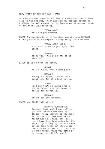 Example of a page from a screenplay formatted ...