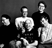 Clockwise from left: Wayne Horvitz, John Zorn, Bill Frisell, Fred Frith, Joey Baron.