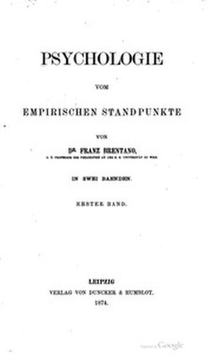 Psychology from an Empirical Standpoint - Title page of the first edition