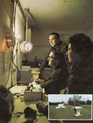 United Kingdom Warning and Monitoring Organisation - ROC post observers in an underground monitoring post during a Cold War training exercise. The BPI dial can be seen in the background with a teletalk, FSM radiac instrument and a WB400 receiver on the desk