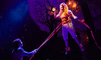 "The Light Princess - Rosalie Craig as ""Althea"" and Nick Hendrix as ""Digby"". Wires, acrobatics and optical illusions were used to give The Light Princess the appearance of always floating in air. Craig's performance and the production design were universally applauded by critics."