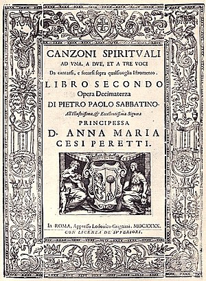 Pietro Paolo Sabbatini - Cover of the Canzione Spirituali a Una, a Due et a Tre Voci, of 1640