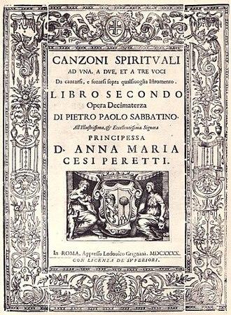 Pietro Paolo Sabbatini - Cover of the Canzione Spirituali a Una, a Due et a Tre Voci, of 1640