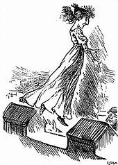 Карикатура на женщину в длинном платье с развевающимися волосами, прыгающую с зубчатых стен замка.