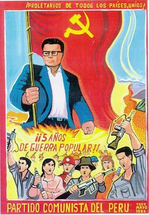 Shining Path - Poster of Abimael Guzmán celebrating five years of People's War