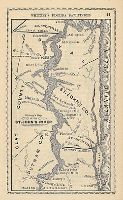 Map of the St. Johns River in 1876